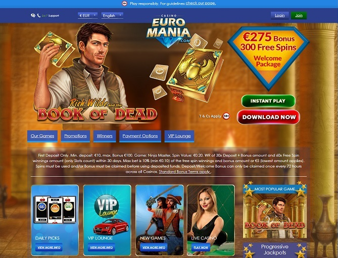 For players that love playing Casino Euromania games while on the go